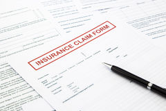 Insurance claim form. Paperwork and legal document, accidental and insurance concepts Stock Photo