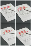 Insurance Claim Forms. 4 Insurance claim forms on black background relating to: Theft, Water Damage, Travel and Automobile Royalty Free Stock Photography