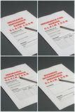 Insurance Claim Forms. 4 Insurance Claim forms relating to: Subsidence, Fire, Storm and Business Interruption Stock Images
