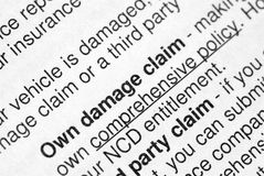 Insurance claim. This is an image of print material royalty free stock images
