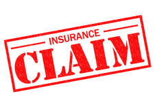 INSURANCE CLAIM. Red Rubber Stamp over a white background Stock Image
