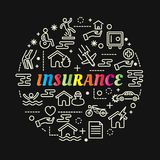 Insurance colorful gradient with line icons set. Vector editable stroke Royalty Free Stock Photos
