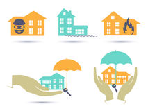 Insurance colorful icons set. Illustration in vector format Stock Photo
