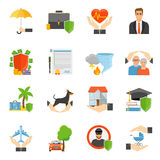Insurance Companies Symbols Flat icons Set Stock Photo