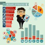 Insurance company agent infographics design. Businessman hipster boy insurance company agent infographic presentation design elements with icons charts and Royalty Free Stock Photos