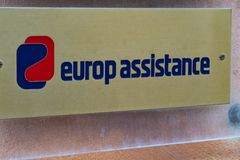 Insurance company Europ Assistance. Verona, Italy - September 5, 2018: Plaque of the insurance company Europ Assistance, an international French group offering a stock image