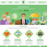 Insurance Company One Page Flat Design Stock Photo