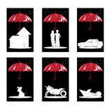 Insurance concept. A  illustration of a set of insurance concept for house, people, auto, pet, motorcycle and boat Stock Photography