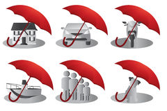 Insurance concept. A  illustration of a set of insurance concept for house, people, auto, pet, motorcyle and boat Stock Photos