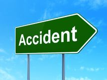 Insurance concept: Accident on road sign background Stock Images