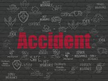 Insurance concept: Accident on wall background. Insurance concept: Painted red text Accident on Black Brick wall background with Scheme Of Hand Drawn Insurance Royalty Free Stock Photography