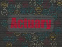 Insurance concept: Actuary on wall background. Insurance concept: Painted red text Actuary on Black Brick wall background with Scheme Of Hand Drawn Insurance Stock Image
