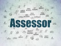 Insurance concept: Assessor on Digital Data Paper background. Insurance concept: Painted blue text Assessor on Digital Data Paper background with  Hand Drawn Royalty Free Stock Image