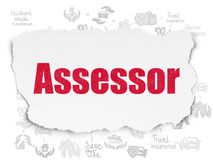 Insurance concept: Assessor on Torn Paper background. Insurance concept: Painted red text Assessor on Torn Paper background with Scheme Of Hand Drawn Insurance Royalty Free Stock Photos
