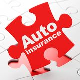 Insurance concept: Auto Insurance on puzzle background. Insurance concept: Auto Insurance on Red puzzle pieces background, 3D rendering Stock Photography