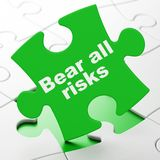 Insurance concept: Bear All Risks on puzzle background. Insurance concept: Bear All Risks on Green puzzle pieces background, 3D rendering Royalty Free Stock Photos