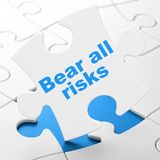 Insurance concept: Bear All Risks on puzzle background. Insurance concept: Bear All Risks on White puzzle pieces background, 3D rendering Royalty Free Stock Image