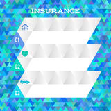 Insurance concept blue background abstract mosaic triangles Stock Photography