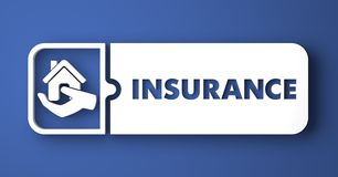 Insurance Concept on Blue in Flat Design Style. Stock Images