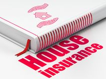 Insurance concept: book House And Palm, House Insurance on white background Royalty Free Stock Images