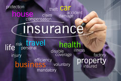 Insurance concept. Businessman writing Insurance concept on screen Royalty Free Stock Photos