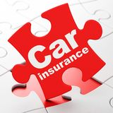 Insurance concept: Car Insurance on puzzle background. Insurance concept: Car Insurance on Red puzzle pieces background, 3D rendering Royalty Free Stock Photo