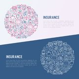 Insurance concept in circle with thin line icons. Health, life, car, house, savings. Modern vector illustration for banner, template of web page, print media Stock Photography
