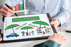 Insurance concept on a clipboard Royalty Free Stock Photo