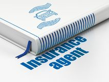 Insurance concept: book Car And Palm, Insurance Agent on white background Royalty Free Stock Photos