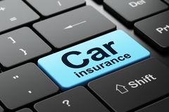 Insurance concept: Car Insurance on computer keyboard background Stock Photos