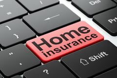 Insurance concept: Home Insurance on computer keyboard background. Insurance concept: computer keyboard with word Home Insurance, selected focus on enter button Royalty Free Stock Photo