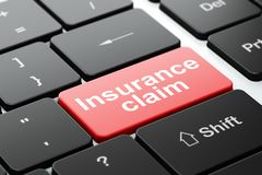 Insurance concept: Insurance Claim on computer keyboard background Stock Photography