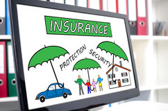 Insurance concept on a computer screen Stock Photography