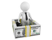 Insurance concept. 3d person with dollars barrier. On a white background Stock Images
