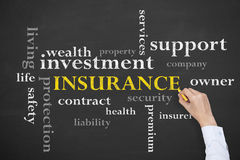 Insurance Concept Diagram on Blackboard Royalty Free Stock Images