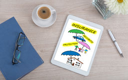 Insurance concept on a digital tablet Royalty Free Stock Images