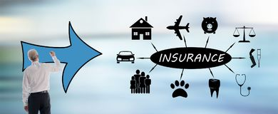 Insurance concept drawn by a man. Insurance concept drawn by a businessman stock images