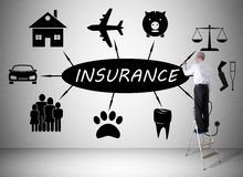 Insurance concept drawn by a man on a ladder Royalty Free Stock Image