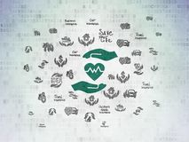 Insurance concept: Heart And Palm on Digital Data Paper background. Insurance concept: Painted green Heart And Palm icon on Digital Data Paper background with Royalty Free Stock Photos