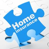 Insurance concept: Home Insurance on puzzle background. Insurance concept: Home Insurance on Blue puzzle pieces background, 3D rendering Royalty Free Stock Image