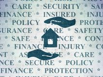 Insurance concept: House And Palm on Digital Data Paper background. Insurance concept: Painted blue House And Palm icon on Digital Data Paper background with Royalty Free Stock Photo