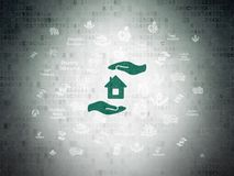 Insurance concept: House And Palm on Digital Data Paper background. Insurance concept: Painted green House And Palm icon on Digital Data Paper background with Royalty Free Stock Photo