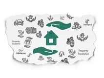 Insurance concept: House And Palm on Torn Paper background. Insurance concept: Painted green House And Palm icon on Torn Paper background with  Hand Drawn Stock Image