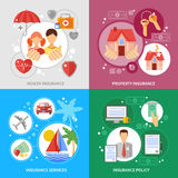 Insurance Concept Icons Set Stock Photos