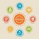 INSURANCE Concept with icons. And signs Royalty Free Stock Photos