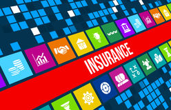 Insurance concept image with business icons and copyspace. Excellent for health, auto, house, travel,business and any other insura Royalty Free Stock Photos