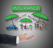Insurance concept levitating above a hand Stock Photo