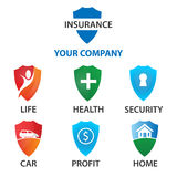 Insurance concept logo template set. Insurance concept protect: life, health, security, car, profit, home, etc Stock Image