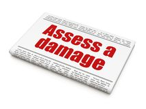 Insurance concept: newspaper headline Assess A Damage Stock Photography