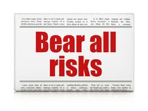 Insurance concept: newspaper headline Bear All Risks. On White background, 3D rendering Royalty Free Stock Photos
